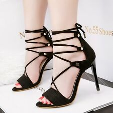 Open Toe Lace Ups Sandals Sexy Solid Rivet Stiletto High Heel Party Women Shoes