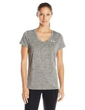 Under Armour 1718 Athletic Tech V-Neck Twist Womens Short Sleeve T-Shirt Gray