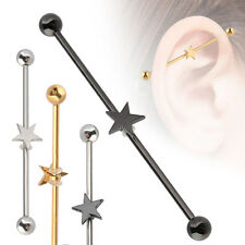 Titanium Anodize Surgical Steel Star Ear Cartilage Industrial Barbell Piercing