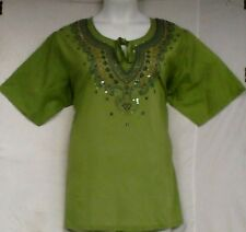 "Women Clothing Cotton Embroidered Blouse Shirt P Green Blue 1X= 48"" - 50"" around"