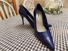 """Paprika Medium Blue Patent Leather Pointed Toe Classic Pumps 4"""" Heels"""