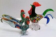 "Set of 3 Hand Blown Glass Art Rooster Bird Figurines Gorgeous ""Murano"" Design"