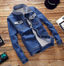 Mens VINTAGE Retro Coat Denim Washed Blue Men Outwear Long Sleeve Jeans Jacket