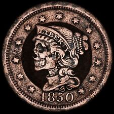 Hand Carved 1850 Large Cent #7- Human SKULL Hobo nickel coin by Seth Basista