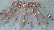 10 VTG Mercury Glass Bead Garland Xmas Icicle Tree Ornaments-SILVER &  PINK