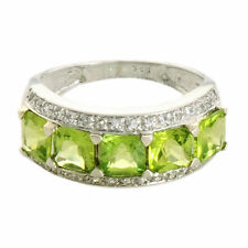 Peridot 3.65 Ct & White Topaz Ring In 10 Kt Solid White Gold Jewelry