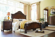 North Shore Ashley Traditional Bedroom 4pc Set Panel Bed Brown Dresser MIrror NS