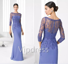 Sheath Mother Of The Bride Dresses 3/4 Sleeve Beads Lace Applique Evening Gowns