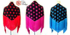 New Polka Dot Spanish Flamenco Dance Shawl Spotty Red Pink Blue Black