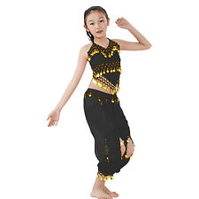 Kids Professional Belly Dance Halter Top Skirt Costume Set with Gold Coins
