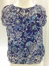 Liz Claiborne top L blue white floral sheer overlay smock cap sleeve blouse