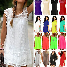 Womens Boho Chiffon Mini Dress Summer Holiday Beach Loose Sun Dress Size S-XXXL