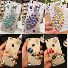 Girl's Cute Bling Diamond Crystal Peacock Rose Clear Case Cover for Cell Phones
