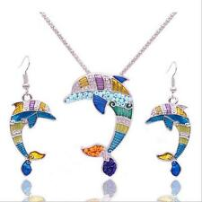 New Dolphin Jewelry Sets Enamel Ethnic Necklace Earring Set Gold Plated Women