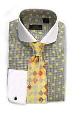 Dress Shirt by Steven Land Spread Collar  Rounded French Cuff-Yellow-DW1600-YE