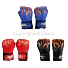 PU Leather Boxing Gloves Flame Pattern for Sparring Kickboxing Muay Thai Karate