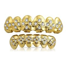 Gold Cross Pattern Hip Hop Iced Out Grillz Combo
