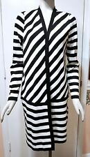 NWT $129 Chico's Travelers Collection Striped Sweater Duster, B&W, Sizes 1, 2, 3