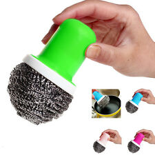 Haimi-hk Pot Brush Cleaning Round Handle Stainless Steel Scrubbers Tool Utensil