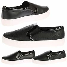 Ava Womens Flats Low Heels Slip On Plimsolls Two Tone Pumps Trainers Ladies Size