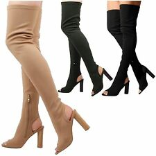Riva Womens High Block Heel Thigh High Over Knee Peep Toe Knit Boots Ladies Size