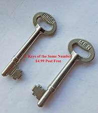 2 off PRE CUT UNION KEYS FOR M ? N  MORTICE LOCKS Choose from Numbers 1 - 8