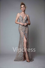 Shiny Spaghetti Tulle Evening Dresses Lace Appliques Sequins Beads Party Gowns