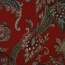 Duralee | Pattern 20985-9 | Red Floral Paisley Cotton Linen Drapery Fabric