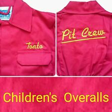 Pit Crew Kids Overalls.Childs Junior Boiler Suit Personalised free