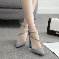 Sexy Women's Strappy Block High Heels Chunky cut out Shoes Pumps Pointed sandals