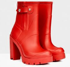 "Stunningly Beautiful & Sexy Hunter Original 4"" High Heel Rose Red Rubber Boots"