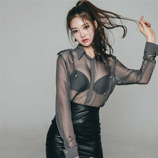 Sexy Womens Perspective Shirt Chiffon Tops Blouse Casual Long Sleeve Blouse