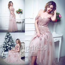 Pink Off The Shoulder Wedding Dresses Lace Applique Sequins Beads Bridal Gowns