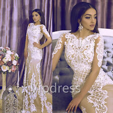 Sexy White&Nude Mermaid Wedding Dresses Long Sleeve Lace Appliques Bridal Gowns