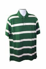 Tommy Hilfiger Men's Green/White Cotton Short Sleeves Striped Polo Tee Shirt