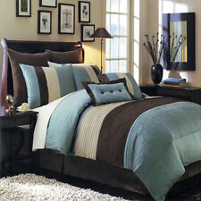 12pc Blue & Brown Colorblock Comforter Set with Sheets AND Shams - ALL SIZES