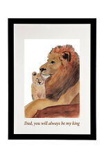 LION AND CUB DRAWN & PAINTED PRINT IN BLACK FRAME FATHERS DAY PERSONALISED