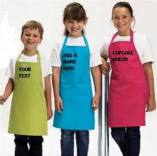 KIDS APRON PERSONALISED PRINTED YOUR TEXT 12 COLOURS 2 SIZES FREE P&P