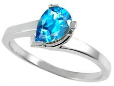 Pear Shape 7x5mm Blue Topaz Ring