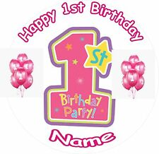 "GIRL 1ST BIRTHDAY ROUND 7.5"" CAKE TOPPER ICING OR RICEPAPER"