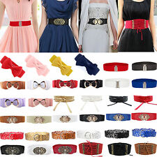 Ladies Women Stretch Buckle Wide Waist Belt Elastic Corset Dress Belt Waistband