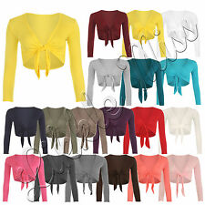 Womens Front Tie Knot Up Ladies Long Sleeve Plain Crop Bolero Shrug Cardigan Top