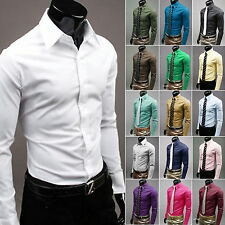 Mens Luxury Casual Formal Shirt Long Sleeve Slim Fit Business Dress Shirts TOP