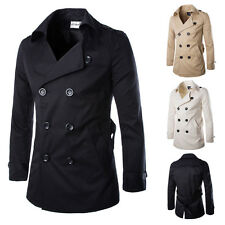 New Winter Jacket Mens Long Trench Coat Thin Double Breasted Overcoat Outerwear