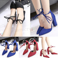 2017 Hot Women Pointed Toe High Heel Strappy Classic Sexy Thick Block Heel Shoes