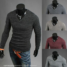 Fashion Mens Casual V-neck Slim Fit Long Sleeve Knit Sweaters Cardigan Pullover