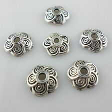 100/800pcs Tibetan Silver Charms Spiral Flower Bead Caps Jewelry Making Beading