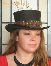 Steampunk Hat Time Hunter Post-Apocalyptic Bullets Band Leather Top Hat 2 Tones