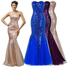 Sequins Mermaid Bridesmaid Formal Evening Party Ball Gown Wedding Long Dress HOT