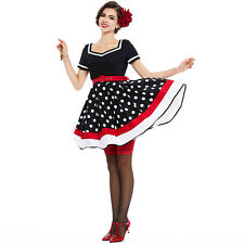 Women Black Polka Dot 1950s Vintage Dress Rockabilly Pinup Summer Party Dresses